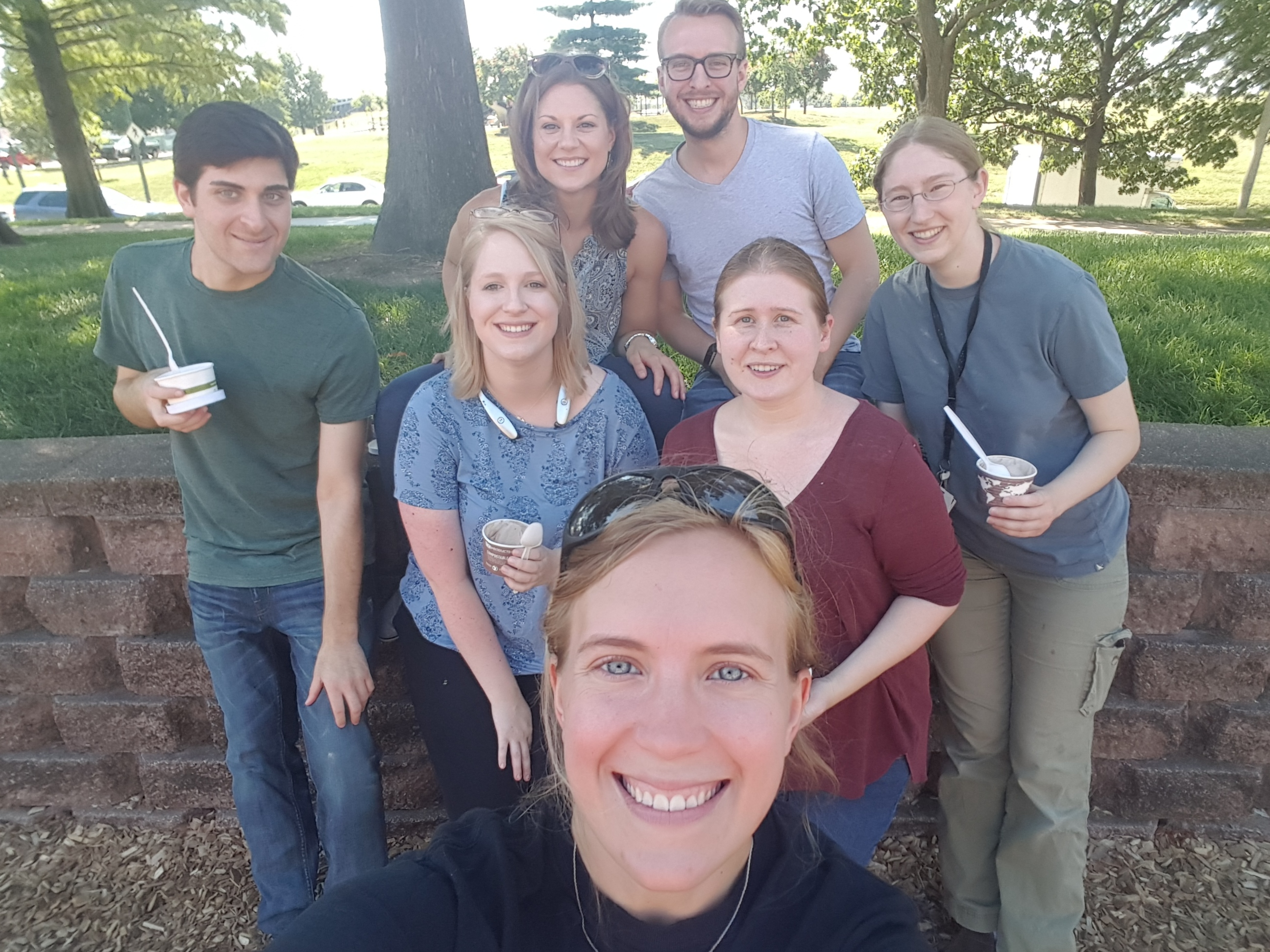 Front-back, L-R: Kayla, Katie, Rebecca, Nathan The Two, Susan, Nathan The One, and Claire (on an ice cream journey?)