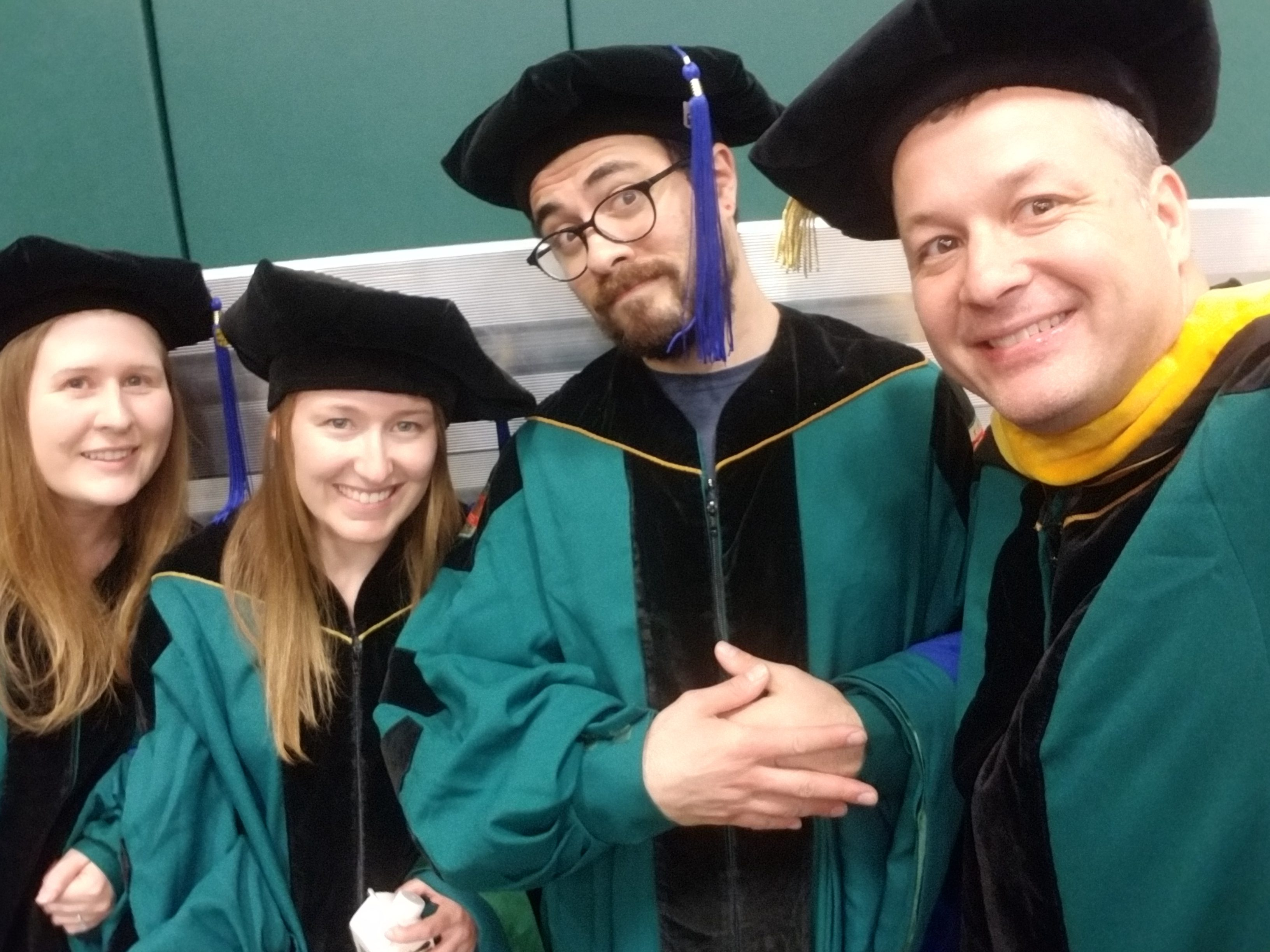 L to R: Rebecca, Krissy, Mike, and Joe at Spring 2018 graduation