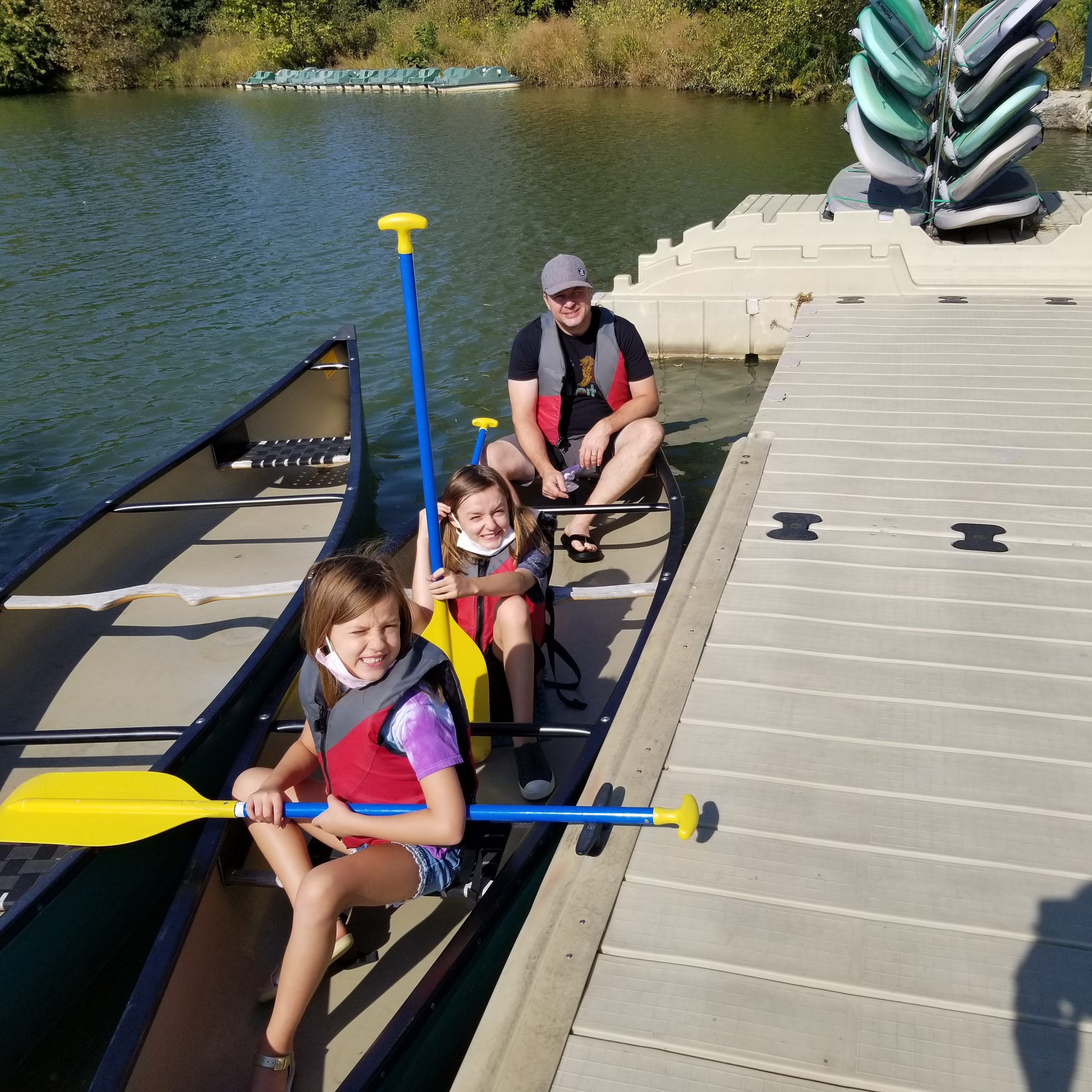 Joe (back), and kids, Miles (middle) and Marlo (front) at socially distant Boathouse Trip 20
